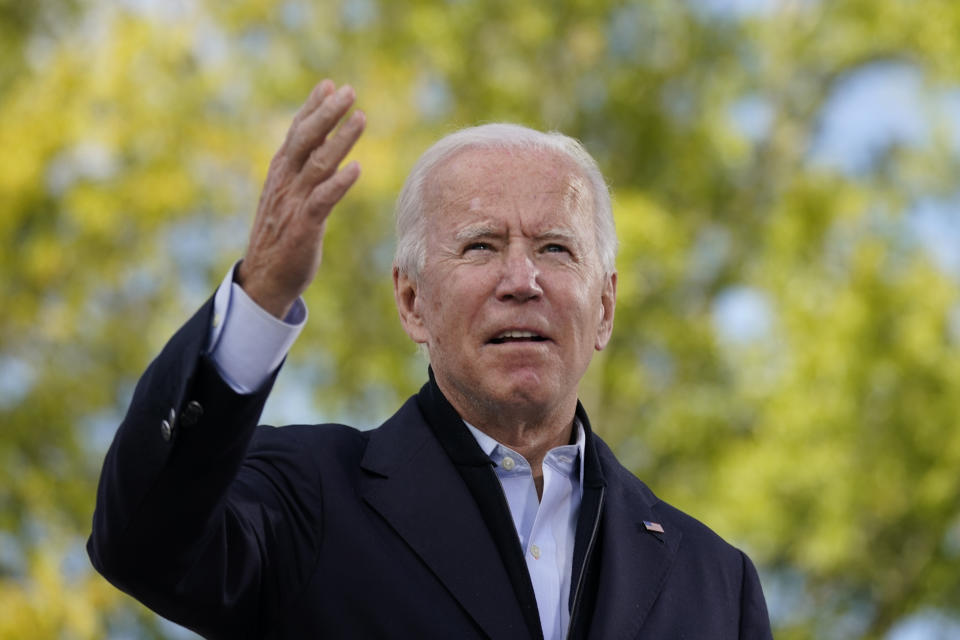 Democratic presidential candidate former Vice President Joe Biden speaks during a campaign event at Riverside High School in Durham, N.C., Sunday, Oct. 18, 2020. (AP Photo/Carolyn Kaster)