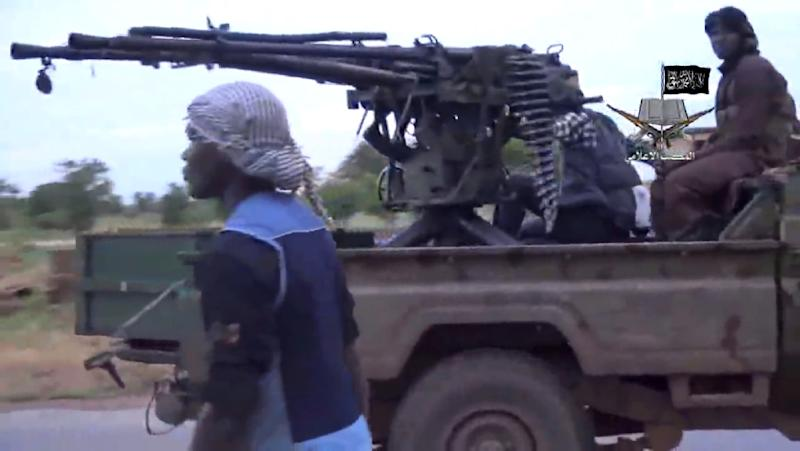 A screengrab taken on August 24, 2014 from a video released by the Nigerian Islamist extremist group Boko Haram shows alleged group members at an undisclosed location