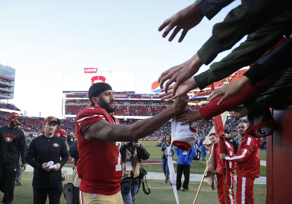 Colin Kaepernick is accusing the NFL and its team owners of blackballing him from the league due to his 2016 protests. (AP)