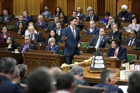 Canada's PM Trudeau speaks during Question Period on Parliament Hill in Ottawa