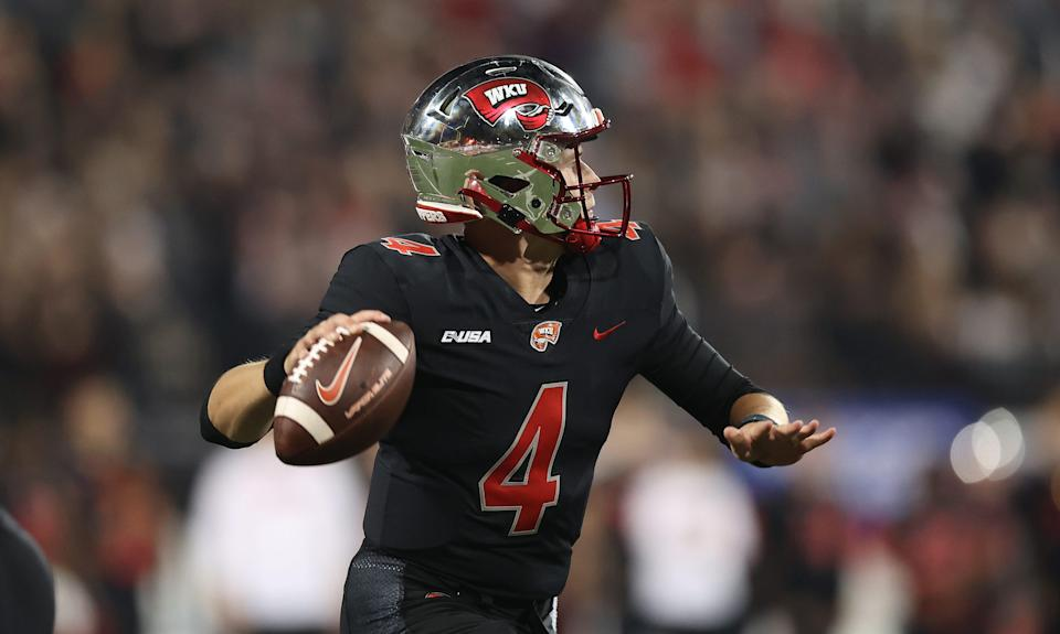 BOWLING GREEN, KENTUCKY - SEPTEMBER 25: Bailey Zappe #4 of the Western Kentucky Hilltoppers throws a pass against the Indiana Hoosiers at Houchens Industries-L.T. Smith Stadium on September 25, 2021 in Bowling Green, Kentucky. (Photo by Andy Lyons/Getty Images)
