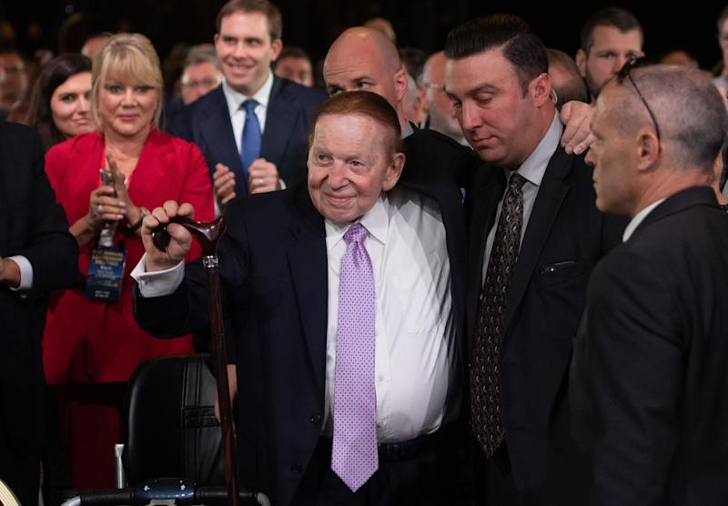 Las Vegas Sands Corp. Chairman and CEO Sheldon Adelson arrives prior to a speech by US President Donald Trump during the Republican Jewish Coalition 2019 Annual Leadership Meeting in Las Vegas, Nevada, April 6, 2019. (Photo by SAUL LOEB / AFP) (Photo credit should read SAUL LOEB/AFP/Getty Images)