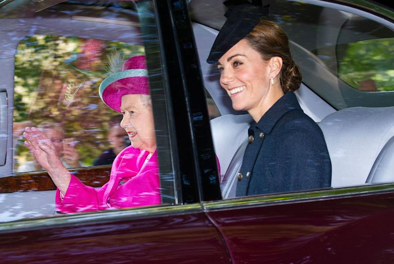 Kate Middleton Is All Smiles for Her Joyful Ride to Church Alongside the Queen in the Backseat!