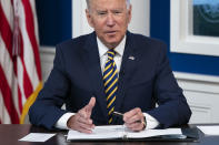 President Joe Biden delivers remarks to the Major Economies Forum on Energy and Climate, in the South Court Auditorium on the White House campus, Friday, Sept. 17, 2021, in Washington. (AP Photo/Evan Vucci)