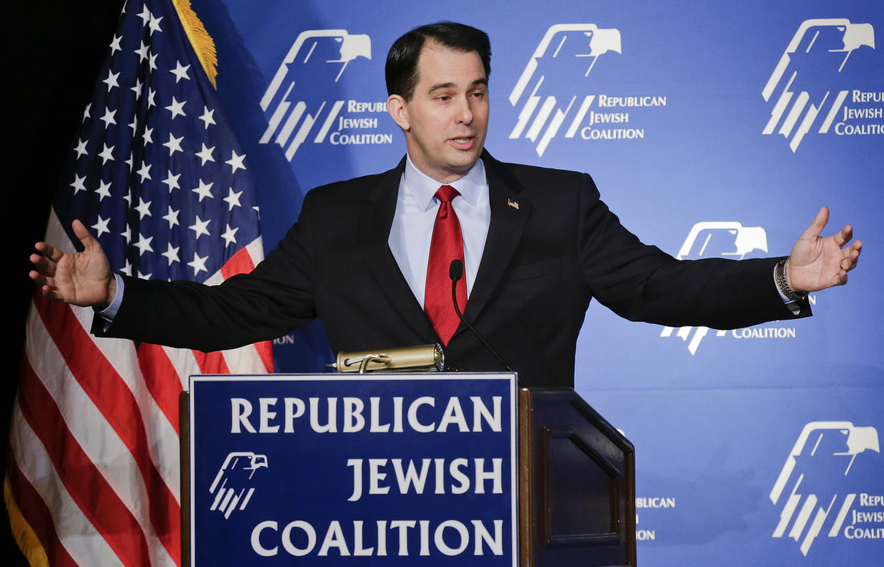 Wisconsin Gov. Scott Walker speaks at the Republican Jewish Coalition Saturday, March 29, 2014, in Las Vegas. Several possible GOP presidential candidates gathered in Las Vegas as Sheldon Adelson, a billionaire casino magnate, is looking for a new favorite to help end his party's presidential losing streak. (AP Photo/Julie Jacobson)