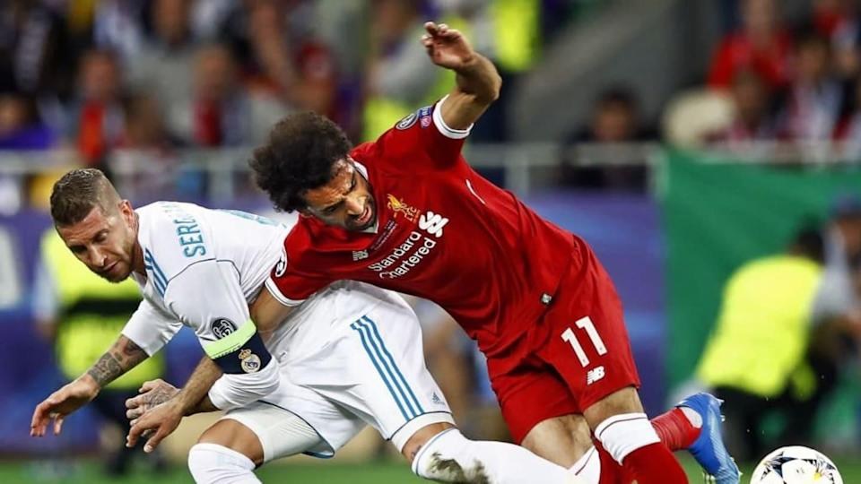 Lo scontro in Champions League tra Salah e Sergio Ramos   VI-Images/Getty Images