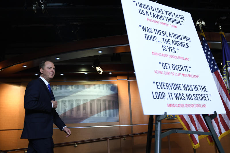 House Intelligence Committee Chairman Adam Schiff, D-Calif., walks onto the stage for a news conference on Capitol Hill in Washington, Tuesday, Dec. 3, 2019. (AP Photo/Susan Walsh)