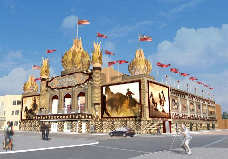 In this undated photo provided by the Meyer Scherer & Rockcastle is a rendering of what the Corn Palace in Mitchell, S.D., will look like after renovations. On Monday, July 15, 2013, the Mitchell City Council approved a $7.2 million upgrade to the quirky landmark dedicated to all things corn in an effort to draw in more visitors. The Corn Palace sees about 200,000 tourists each year. (AP Photo/Meyer Scherer & Rockcastle)