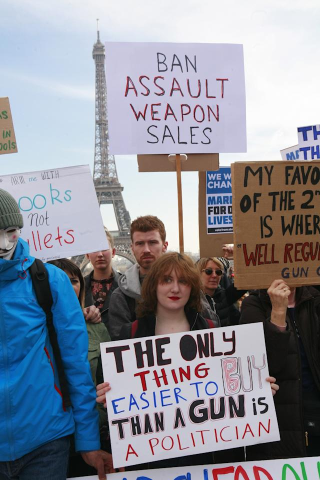 <p>Americans and French held a March for Our Lives anti-NRA rally on Place de Trocadero, facing the Eiffel Tower, in Paris. (Photo: Getty Images) </p>