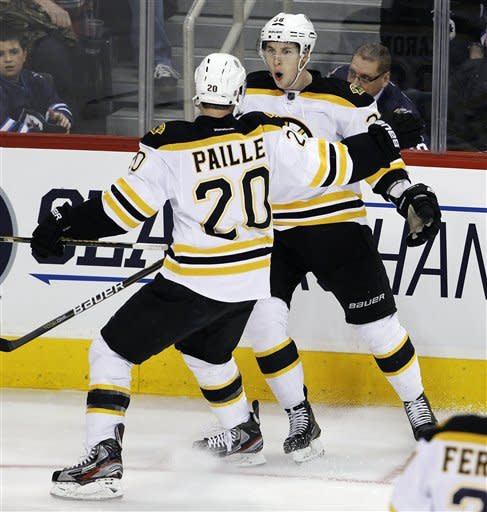Boston Bruins' Daniel Paille (20) celebrates with Jordan Caron (38) after Caron scored against the Winnipeg Jets during the second period of an NHL hockey game, Friday, Feb. 17, 2012, in Winnipeg, Manitoba. (AP Photo/The Canadian Press, Trevor Hagan)