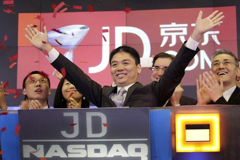 Richard Liu Qiangdong, chief executive of JD.com, during the trading debut of his e-commerce platform on the Nasdaq in New York on May 22, 2014. Photo: AP