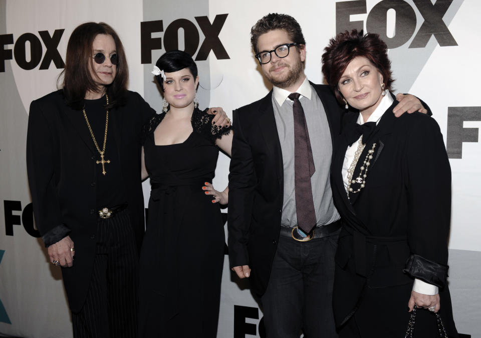 From left to right, Ozzy Osbourne, Kelly Osbourne, Jack Osbourne and Sharon Osbourne, cast members in the show