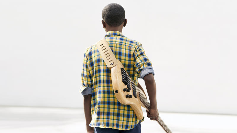 """12-year-old bass guitarist @lilasmar hopes to inspire other kids to keep moving forward. """"Whatever you want to do, just do it. No one can tell you to stop."""" #GapToSchool"""