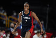 France's Sandrine Gruda (7) celebrates after making a basket during women's basketball preliminary round game against Japan at the 2020 Summer Olympics, Tuesday, July 27, 2021, in Saitama, Japan. (AP Photo/Charlie Neibergall)