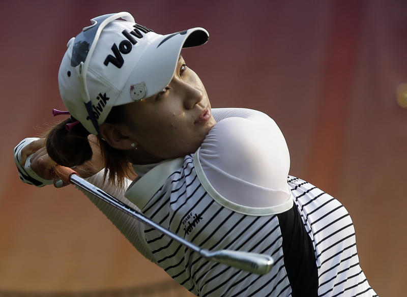 Chella Choi of South Korea watches her tee shot on the 17th hole during third round play in the Mobile Bay LPGA Classic golf tournament at the Robert Trent Jones Golf Trail at Magnolia Grove in Mobile, Ala. Saturday, May 18, 2013. (AP Photo/Dave Martin)