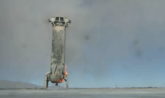 The booster of Blue Origin's New Shepard rocket makes a successful landing.