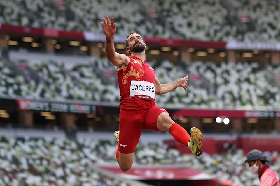 TOKYO, JAPAN - AUGUST 02: Eusebio Caceres of Team Spain competes in the Men's Long Jump Final on day ten of the Tokyo 2020 Olympic Games at Olympic Stadium on August 02, 2021 in Tokyo, Japan. (Photo by Cameron Spencer/Getty Images)