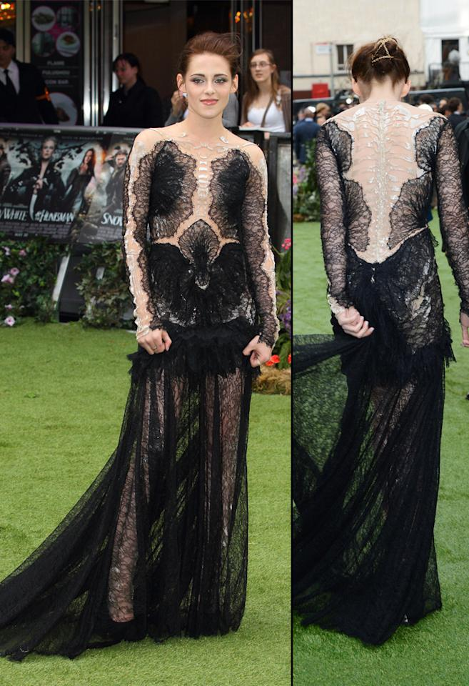 "Kristen Stewart attends the London premiere of ""Snow White and the Huntsman"" on May 14, 2012."