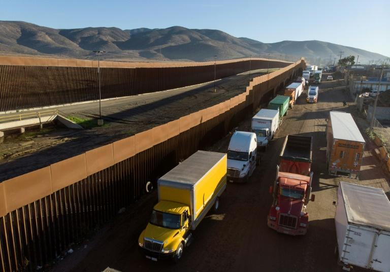 Trucks lining up to cross from Tijuana, Mexico to the United States in December 2019