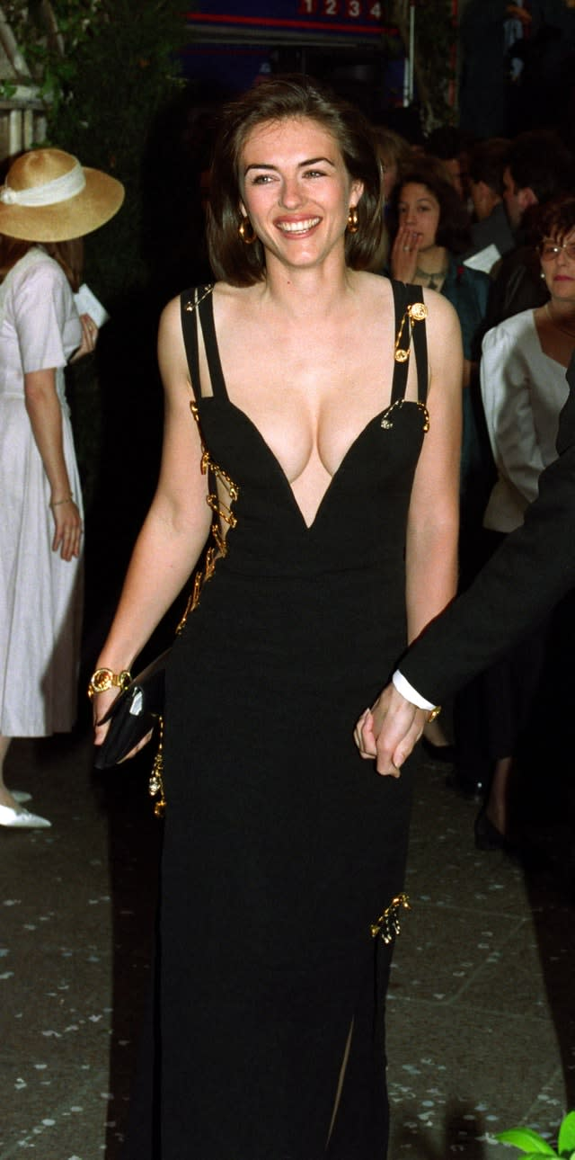 Liz Hurley arriving for the premiere of Four Weddings And A Funeral