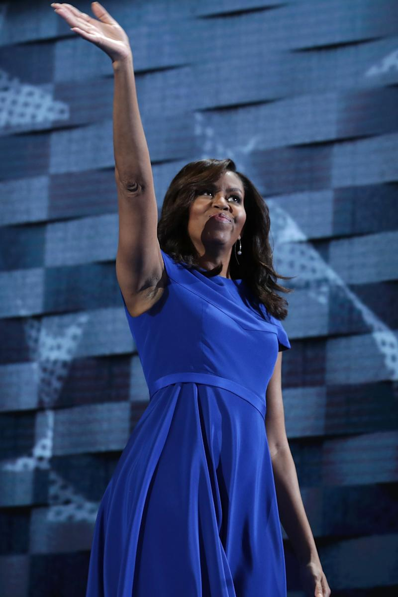 Though she blended into the background in cobalt blue, Obama still definitely stood out at the 2016 National Democatic Convention when she wore a silk cap sleeve dress by Christian Siriano, the Annapolis-born designer and Project Runway alum. He may have been planning on dressing Hillary Clinton next, but in the meantime, he's been working with names like Leslie Jones, whom he stood by after other designers turned away from working with plus sizes—a message Obama would no doubt get behind.