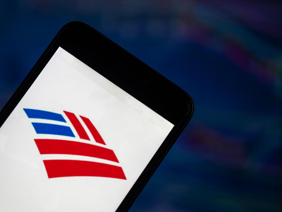 KIEV, UKRAINE - 2018/08/04:  In this photo illustration, the Bank of America application seen displayed on a smartphone. Bank of America Corporation is an American multinational financial services company headquartered in Charlotte, North Carolina. (Photo Illustration by Igor Golovniov/SOPA Images/LightRocket via Getty Images)
