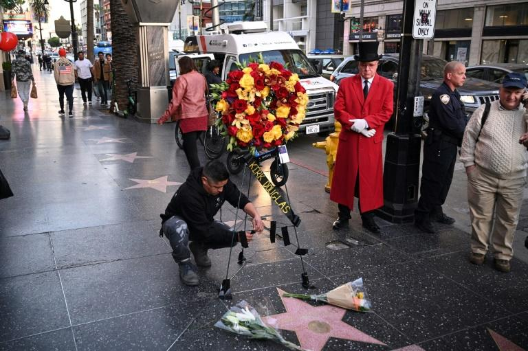 A wreath is placed at Kirk Douglas's star on the Walk of Fame in Hollywood on February 5 following his death