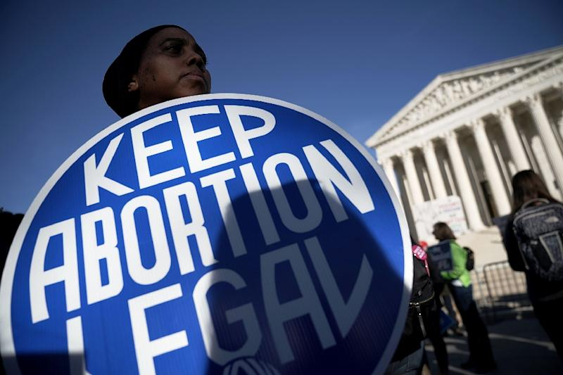 An abortion rights activist outside the US Supreme Court (AFP Photo/ALEX WONG)