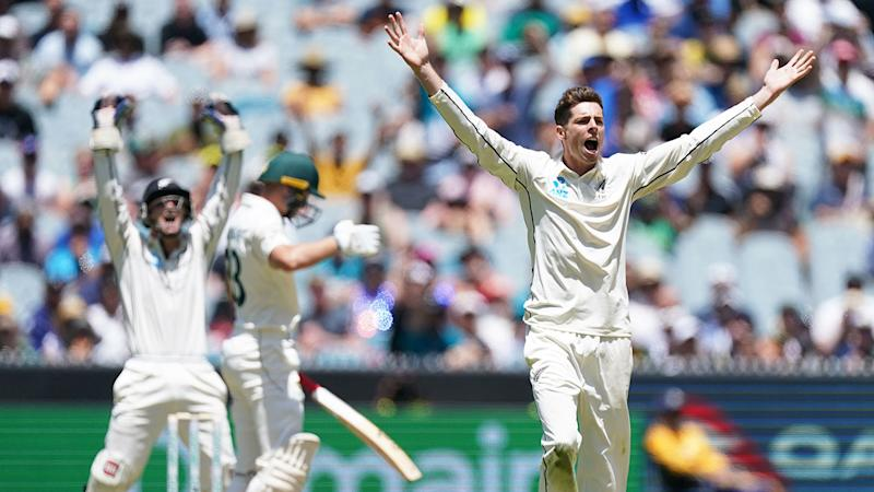 Pictured here, New Zealand spinner Mitchell Santner appeals for a wicket on day one of the second Test.