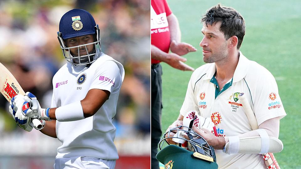 Pictured on the right, Aussie opener Joe Burns and India counterpart Prithvi Shaw on the left.