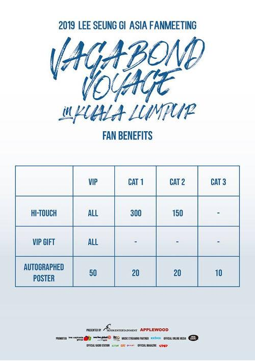Fan benefits for each ticket category (Photo source: HOOK Entertainment | APPLEWOOD | IMC Live Global).