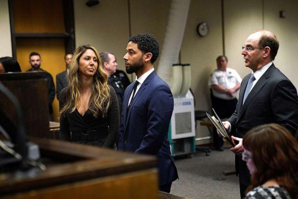 PHOTO: Jussie Smollet appears at a hearing for judge assignment with his attorney Tina Glandian, left, at Leighton Criminal Court Building, on March 14, 2019 in in Chicago. (E. Jason Wambsgans/Getty Images, FILE)