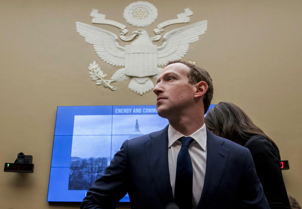FILE - In this April 11, 2018, file photo, Facebook CEO Mark Zuckerberg arrives to testify before a House Energy and Commerce hearing on Capitol Hill in Washington. Facebook said Tuesday, Sept. 17, 2019, that it expects to name the first members of a new quasi-independent oversight board by year-end. The oversight panel, which the social network first discussed publicly last November, will rule on thorny content issues, such as when Facebook or Instagram posts constitute hate speech. (AP Photo/Andrew Harnik, File)