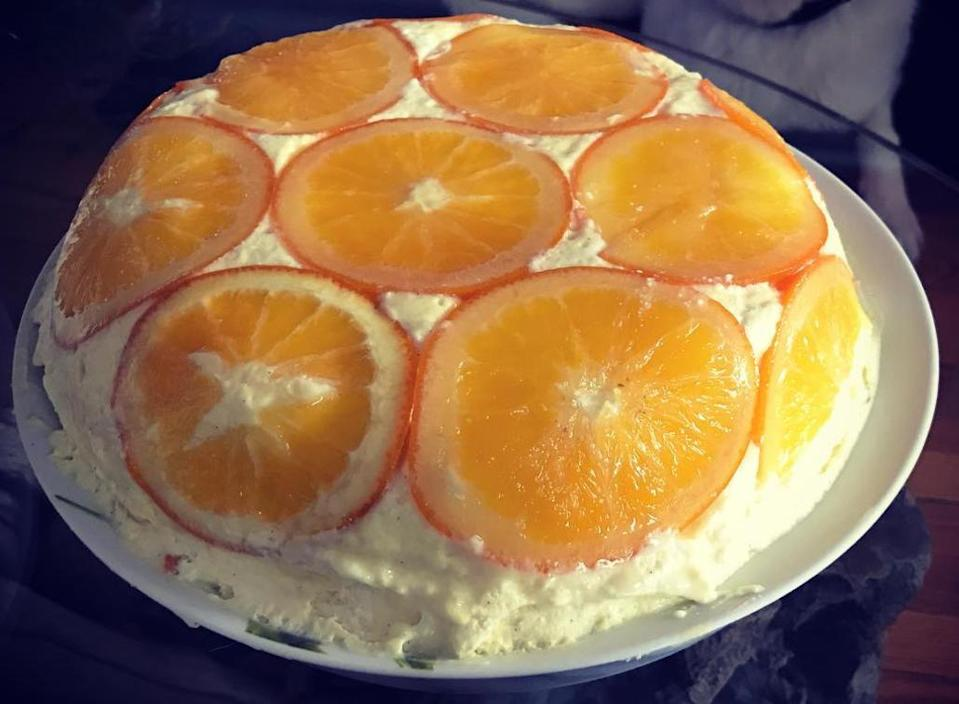"<p>1 large orange<br>400ml water<br>400g caster sugar<br>50ml Grand Marnier<br>600ml whole milk<br>1 tsp vanilla bean paste<br>4 large eggs<br>100g caster sugar<br>60g plain flour<br>300ml whipping cream<br>50g butter, plus extra for greasing<br>4 large eggs<br>100g caster sugar<br>100g plain flour, sifted<br><a href=""https://thegreatbritishbakeoff.co.uk/marys-rosace-a-lorange/"" rel=""nofollow noopener"" target=""_blank"" data-ylk=""slk:Check out the method here"" class=""link rapid-noclick-resp"">Check out the method here</a><br>[Photo: Instagram/rhealitycheck] </p>"