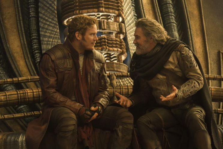 Chris Pratt and Kurt Russell in <em>Guardians of the Galaxy Vol. 2.</em>