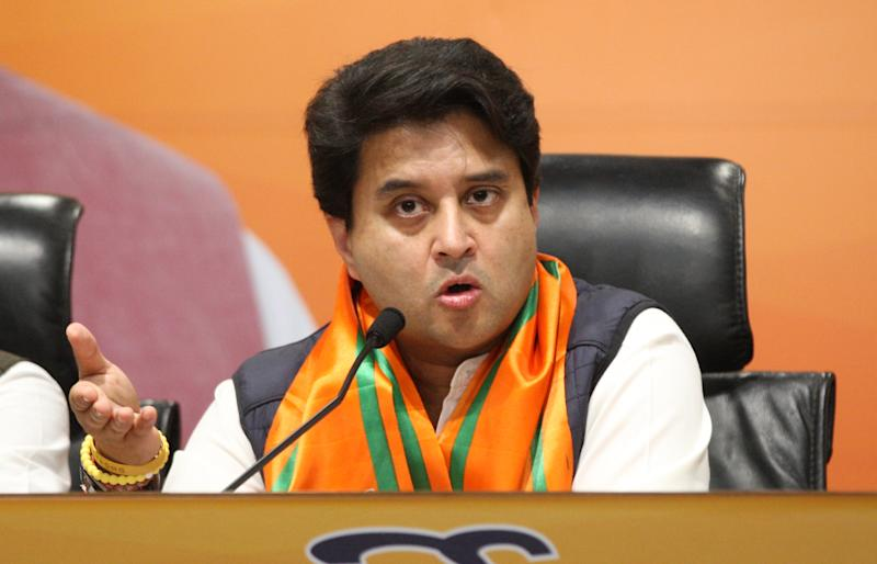 NEW DELHI, INDIA MARCH 11: Former Member of Parliament, Jyotiraditya Scindia joins BJP in New Delhi. (Photo by Qamar Sibtain/India Today Group/Getty Images)