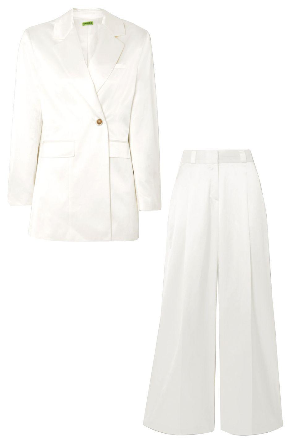 """<p>Balance out proportions with wide-legged pants and a streamlined blazer. The suit's cotton blend will feel cool and crisp in warm weather.</p><p><strong>More</strong>: <a href=""""https://www.townandcountrymag.com/style/fashion-trends/g32290758/best-non-traditional-wedding-dresses/"""" rel=""""nofollow noopener"""" target=""""_blank"""" data-ylk=""""slk:18 Stunning Non-Traditional Wedding Dresses"""" class=""""link rapid-noclick-resp"""">18 Stunning Non-Traditional Wedding Dresses </a><br><a href=""""https://go.skimresources.com?id=74968X1525087&xs=1&url=https%3A%2F%2Fwww.net-a-porter.com%2Fen-us%2Fshop%2Fproduct%2Fgauge81%2Fseattle-cotton-blend-blazer%2F1246809"""" rel=""""nofollow noopener"""" target=""""_blank"""" data-ylk=""""slk:Gauge81 Blazer"""" class=""""link rapid-noclick-resp""""><br>Gauge81 Blazer</a><a href=""""https://go.skimresources.com?id=74968X1525087&xs=1&url=https%3A%2F%2Fwww.net-a-porter.com%2Fen-us%2Fshop%2Fproduct%2Fgauge81%2Fcleveland-pleated-cotton-blend-wide-leg-pants%2F1246811"""" rel=""""nofollow noopener"""" target=""""_blank"""" data-ylk=""""slk:Gauge81 Pant"""" class=""""link rapid-noclick-resp""""><br>Gauge81 Pant</a></p>"""