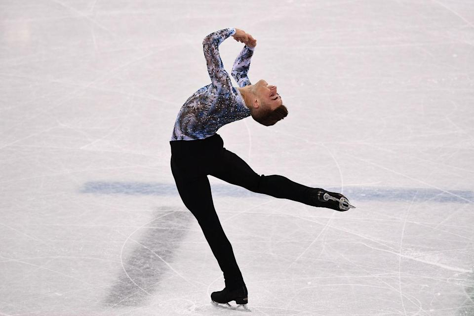 """<p>While you may think male figure skaters could wear tight a la dancers, that's not the case. Trousers are a <a href=""""https://www.bustle.com/p/are-there-different-dress-codes-for-men-women-at-the-2018-pyeongchang-olympics-the-rules-are-actually-so-complicated-8064422"""" rel=""""nofollow noopener"""" target=""""_blank"""" data-ylk=""""slk:dress code requirement."""" class=""""link rapid-noclick-resp"""">dress code requirement.</a> </p>"""