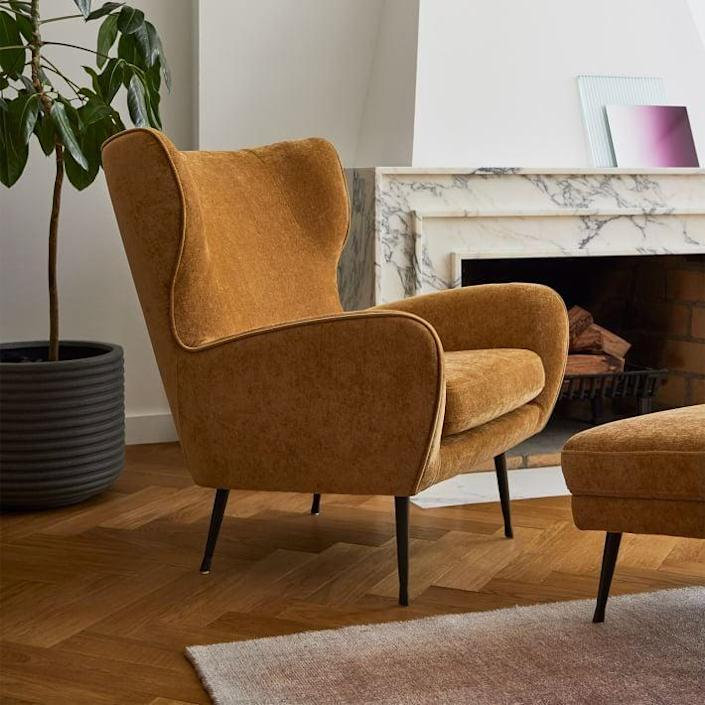 <p>Not only is this <span>West Elm Lucia Wing Chair</span> ($749-$849) pretty to look at, but the shape is so comfy to relax in, too. You can choose it in a number of fabrics and shades, so you can nail down your favorite.</p>