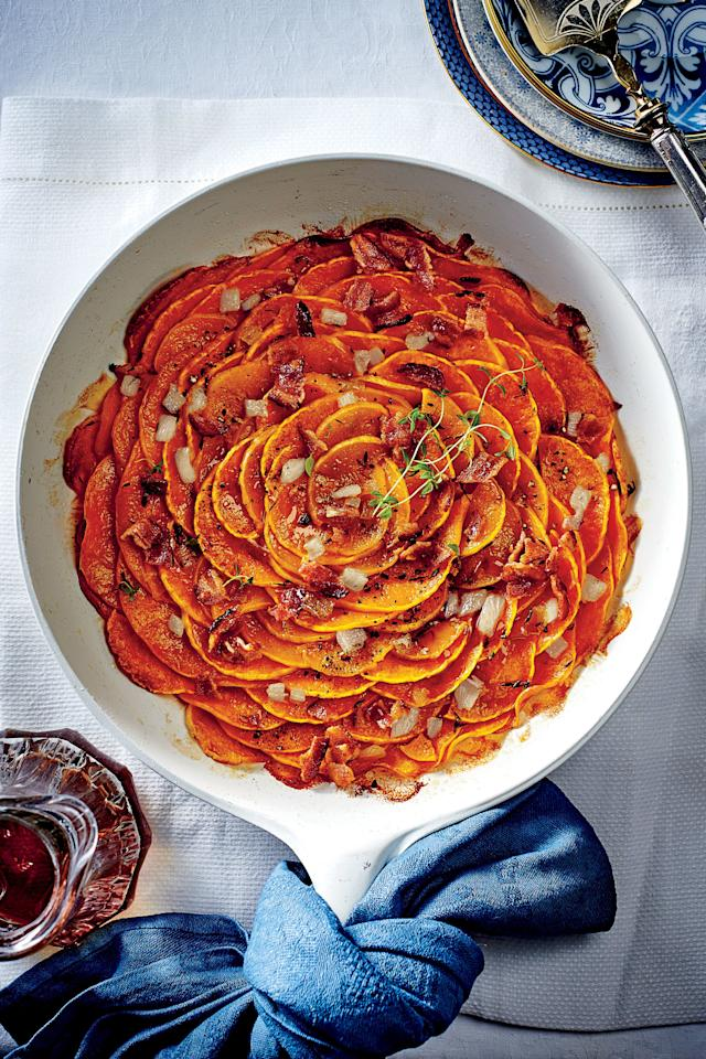 "<p><strong>Recipe: <a href=""http://www.southernliving.com/recipes/skillet-butternut-squash-side-dish-blossom"" target=""_blank"">Skillet Squash Blossom</a></strong></p> <p>Everyone will want a big helping of this gorgeous and delicious dish.</p>"