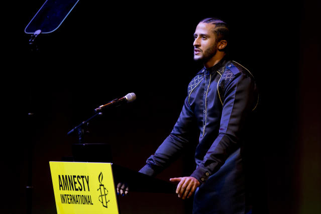 Colin Kaepernick, giving a speech after receiving the Amnesty International Ambassador of Conscience Award in April, is accusing the NFL of collusion. (AP)