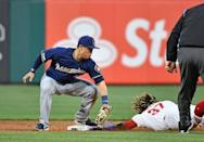 May 14, 2019; Philadelphia, PA, USA; Philadelphia Phillies center fielder Odubel Herrera (37) slides safely into second base ahead of a tag by second baseman Keston Hiura (18) during the second inning at Citizens Bank Park. Mandatory Credit: Eric Hartline-USA TODAY Sports
