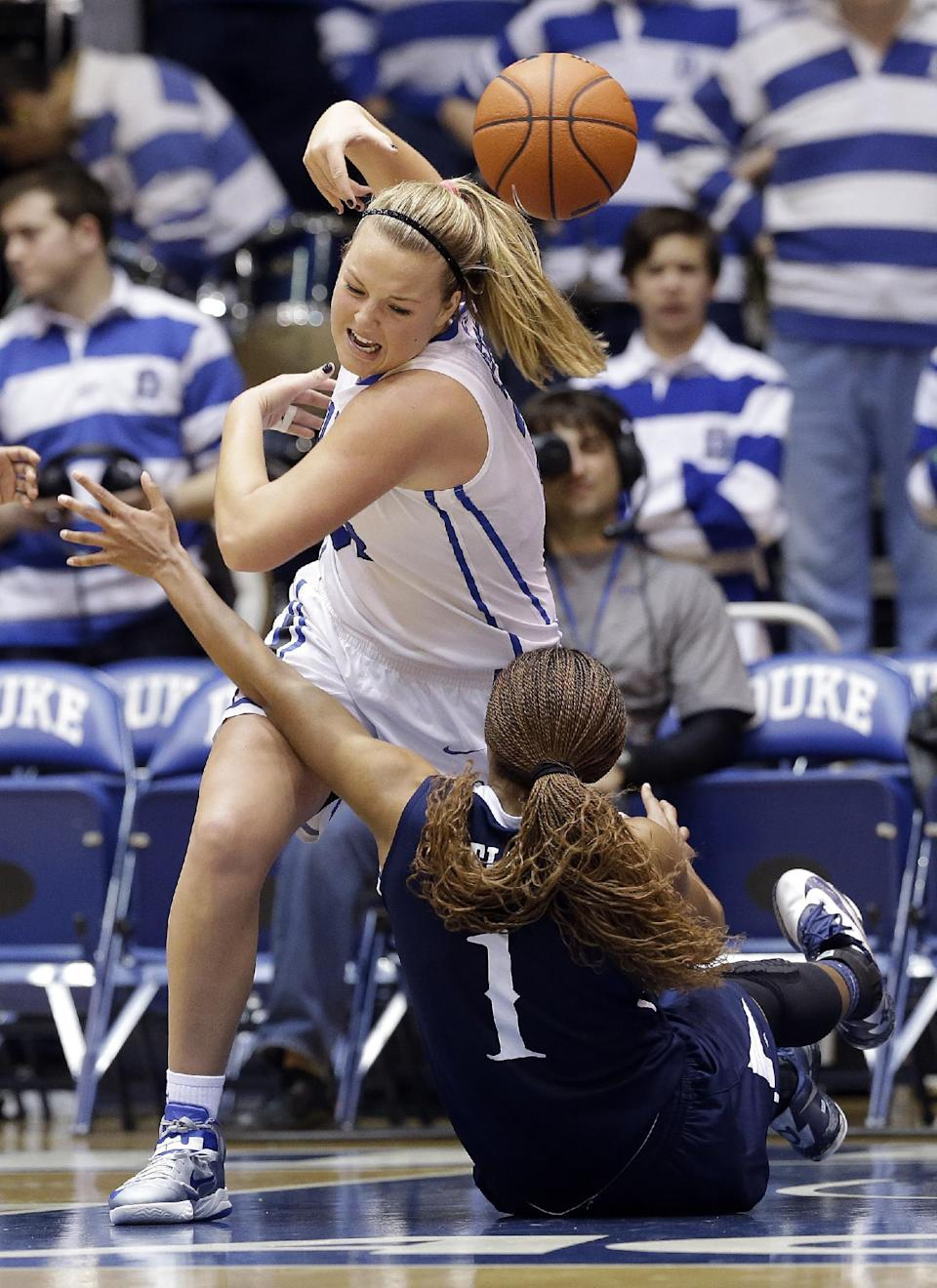 Duke's Tricia Liston and Old Dominion's Shae Kelley (1) struggle for possession of the ball during the second half of an NCAA college basketball game in Durham, N.C., Thursday, Jan. 2, 2014. Duke won 87-63. (AP Photo/Gerry Broome)