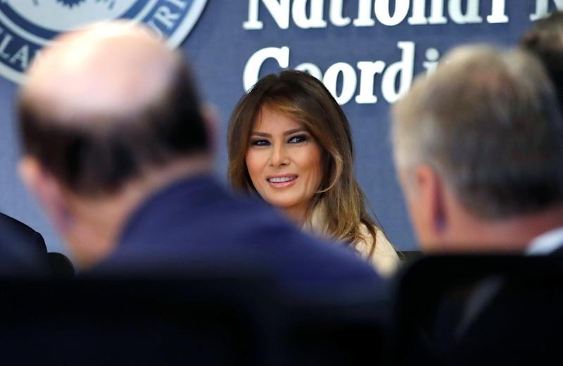 U.S. first lady Melania Trump appears with President Donald Trump at a public event for the first time in almost a month during a hurricane response briefing at the Federal Emergency Management Agency (FEMA) in Washington, U.S., June 6, 2018.