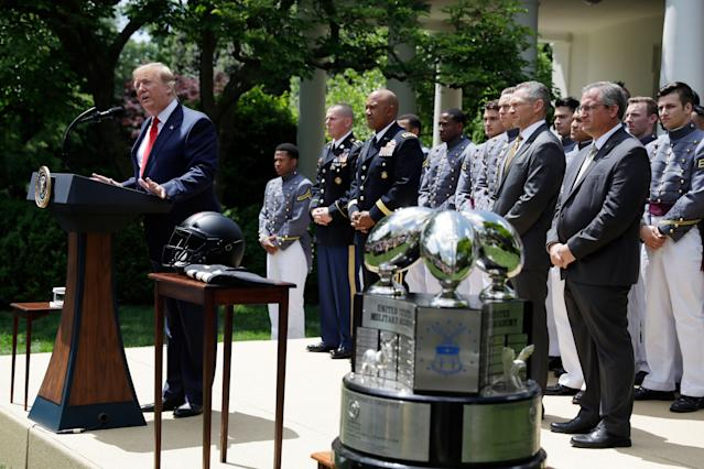 President Donald Trump is considering a waiver that would allow military athletes to play professionally before completing required active duty. (AP Photo/Evan Vucci)