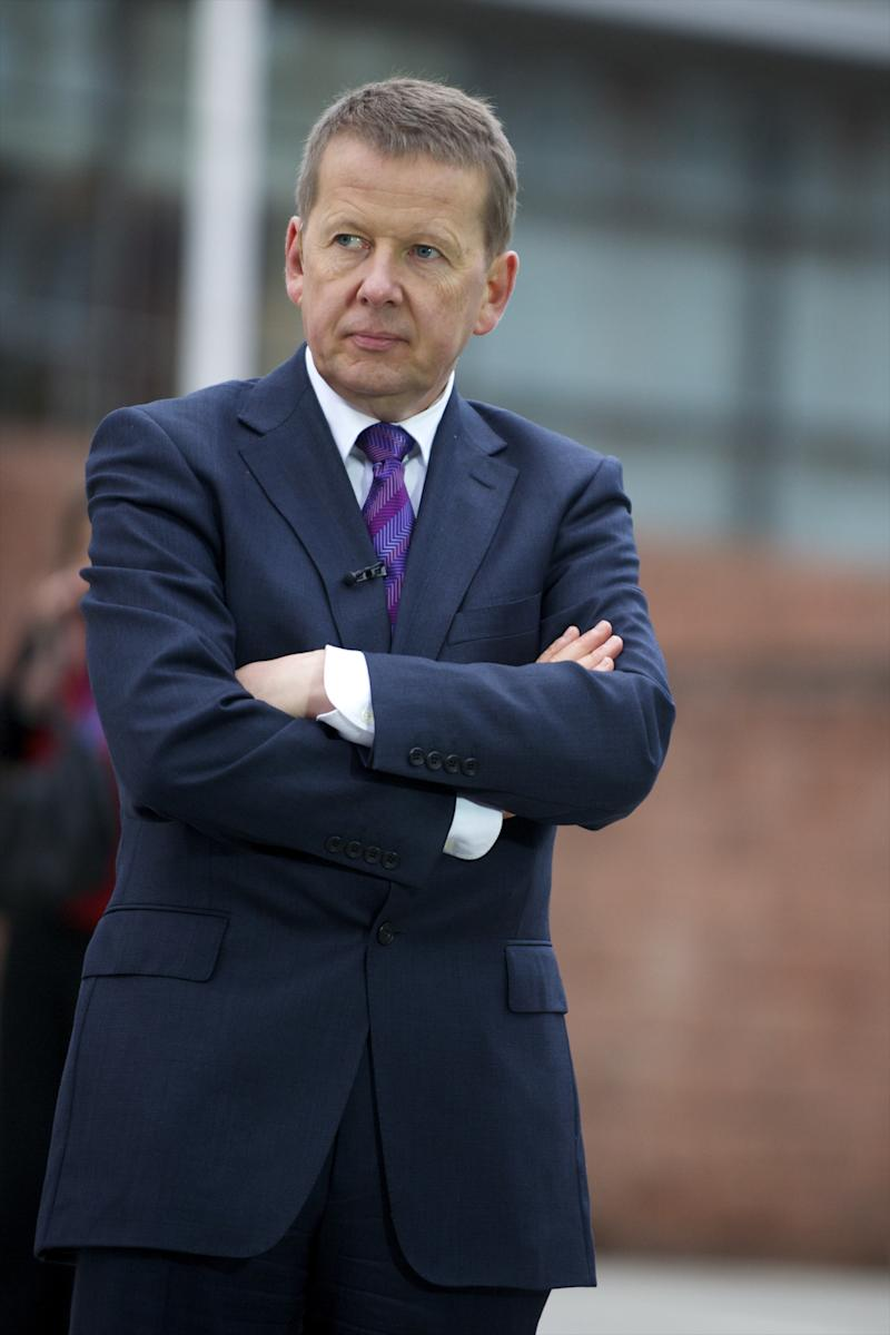 Oct. 7, 2011 - Manchester, England, UK - BBC presenter BILL TURNBULL prepares to broadcast live during the Conservatives Party Conference at Manchester Central. (Credit Image: © Mark Makela) (Photo by Mark Makela/Corbis via Getty Images)