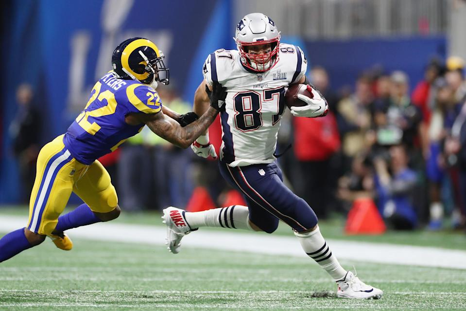 Rob Gronkowski now has more catches in the Super Bowl than any other tight end in NFL history. (Jamie Squire/Getty Images)