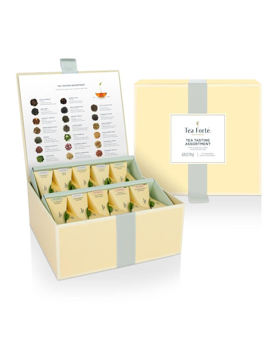 """<p><strong>Tea Forte</strong></p><p>bloomingdales.com</p><p><strong>$60.00</strong></p><p><a href=""""https://go.redirectingat.com?id=74968X1596630&url=https%3A%2F%2Fwww.bloomingdales.com%2Fshop%2Fproduct%2Ftea-forte-tea-tasting-assortment-set%3FID%3D3131594&sref=https%3A%2F%2Fwww.redbookmag.com%2Ffood-recipes%2Fg35419747%2Fbest-tea-brands%2F"""" rel=""""nofollow noopener"""" target=""""_blank"""" data-ylk=""""slk:Shop Now"""" class=""""link rapid-noclick-resp"""">Shop Now</a></p><p>If you're going for presentation points, look no further than these delightful standalone pyramids filled with whole leaf blends like Chamomile Citron, Lemon Lavender, and Mountain Oolong.</p>"""