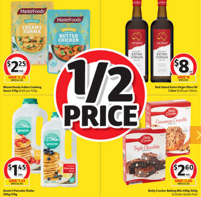 Cooking sauce, cooking oil, pancake mix and cake mix selling for half-price at Coles.