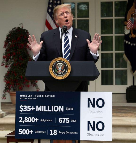PHOTO: President Donald Trump speaks about the investigations by Special Counsel Robert Mueller and the U.S. Congress into himself and his administration in the Rose Garden at the White House in Washington, May 22, 2019. (Leah Millis/Reuters)